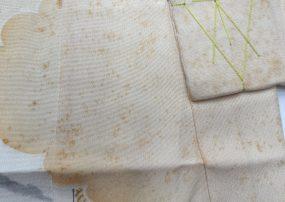 男児五歳着物 三十年前のシミ 染み抜き。クリーニング前